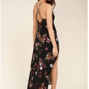 Lulu's Dresses - LULUS: SUGAR LAND BLACK FLORAL PRINT MAXI DRESS